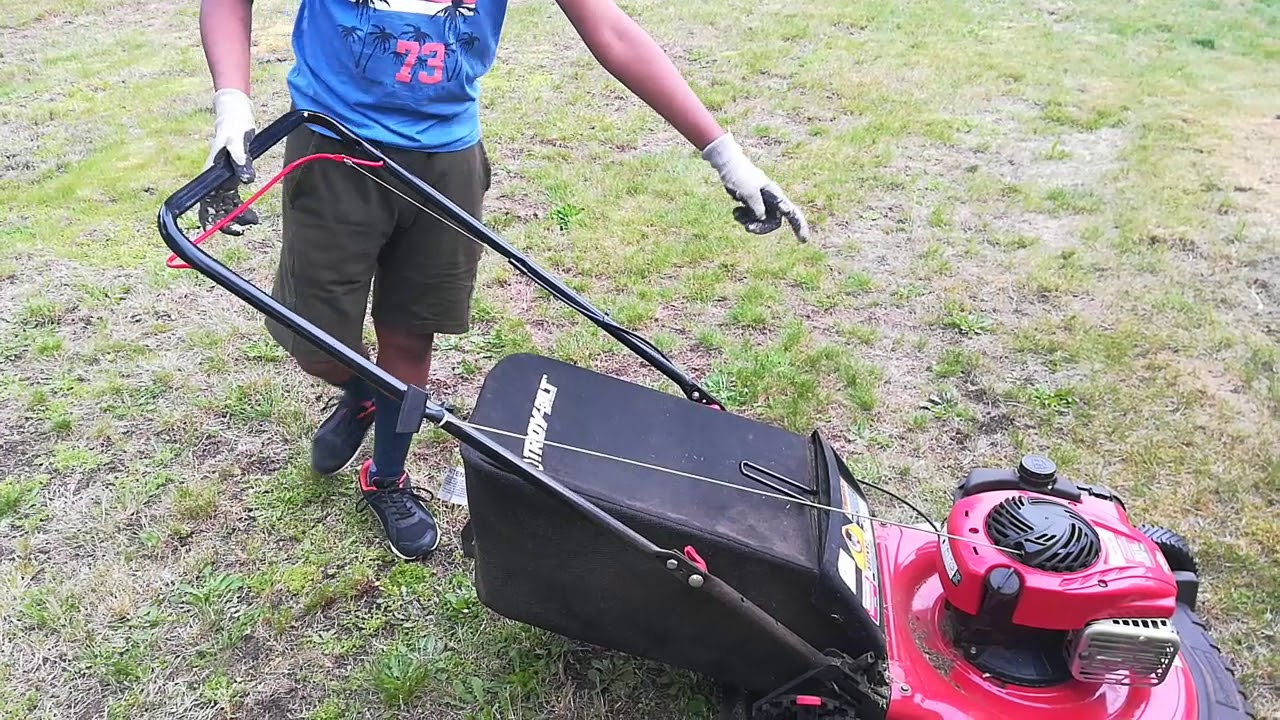 How to put the bag on a troy-bilt lawn mower